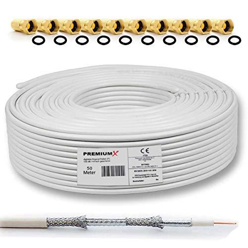 50m 135dB Sat Koaxialkabel Koax Kabel Reines Kupfer Digital PremiumX Profi FullHD UltraHD 4K 4-Fach geschirmt für DVB-S / S2 DVB-C DVB-T und BK Anlagen + 10 F-Stecker mit Gummiring