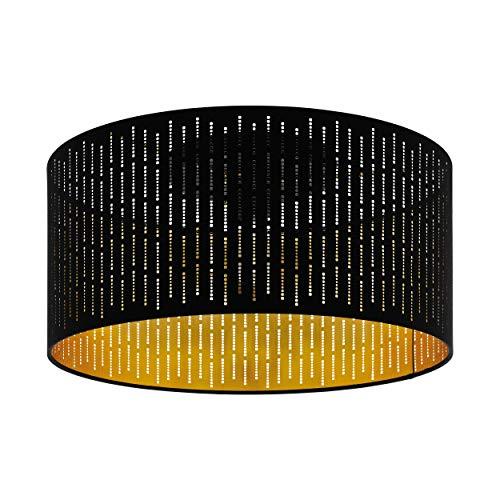 EGLO Deckenlampe Varillas, 1 flammige Deckenleuchte Modern, Wohnzimmerlampe aus Stahl und Textil in schwarz, gold, Küchenlampe, Flurlampe Decke mit E27 Fassung