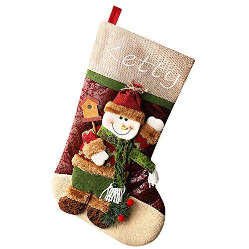 Medias de Navidad Calcetines de Navidad Regalode Decoración Personalizados Bordado de Santa Claus Muñeco Nieve Mini Botas Bolsillo Calcetín, Juego de 3