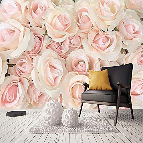 XHXI Jede Größe Foto Tapete Moderne Romantische Rosa Rose Blumen Wohnzimmer Schlafzimmer Vlies Wandblume fototapete 3d Tapete effekt Vlies wandbild Schlafzimmer-250cm×170cm