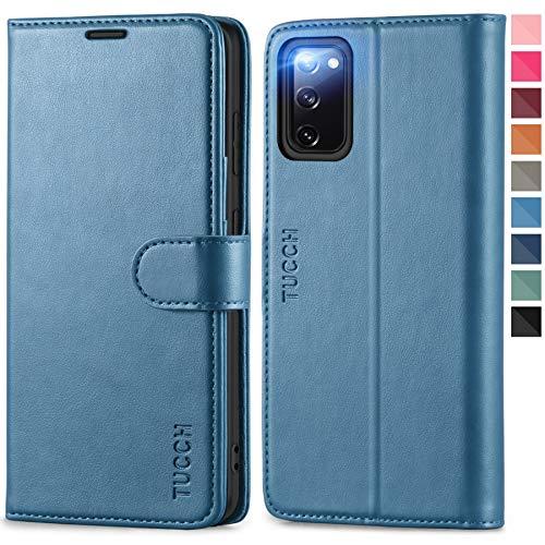 TUCCH Galaxy S20 FE Hülle, [Weicher TPU] [RFID Schutz] [Aufstellfunktion] [Magnet] Handyhülle mit Kartenfach, Lederhülle Klappbar, stoßfest Flipcase, Brieftasche für Galaxy S20 FE (6.5 Zoll) Blau