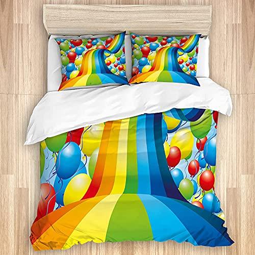 1511 Juego de funda de edredón de algodón lavado, diseño de arco iris en la nube de dibujos animados, juego de cama de lujo suave de 3 piezas tamaño King (sin edredón)