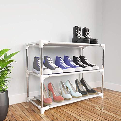 SHDS Estante de Metal para Zapatos de 3 Niveles Que Ahorra Espacio Estante para Zapatos Armario Entrada Almacenamiento Soporte para Zapatos Organizador de Zapatos Estable y Duradero Blanc