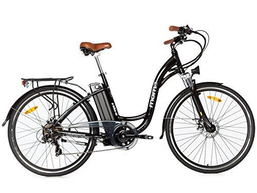 Moma Bikes Bicicleta Electrica, Urbana EBIKE-28 ', Alu. SHIMANO 7V & Doble Freno Disco Bat. Ion Litio 36V 16Ah