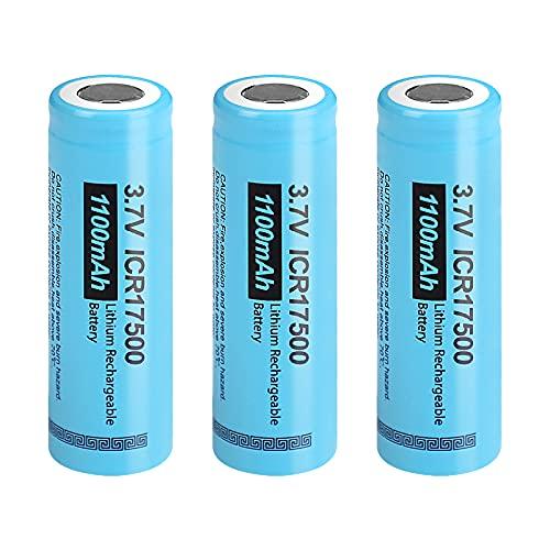 17500 ICR17500 1100mAh 3,7 V Li-Ionen-Akku Für LED-Taschenlampen Taschenlampen (3 Stück)