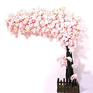 J-beauty Artificial Cherry Blossom Tree Thick Flower Light Pink Cherry Tree Artificial Plant for High School Indoor Outdoor Party Restaurant Mall Silk Flower (5.5ft T(4.5ft Width))