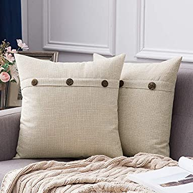 Decorative Linen Throw Farmhouse Pillow Covers