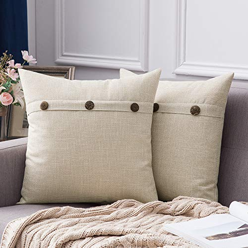 MIULEE Set of 2 Decorative Linen Throw Pillow Covers Cushion Case Triple Button Vintage Farmhouse Pillowcase for Couch Sofa Bed 18 x 18 Inch 45 x 45 cm Beige