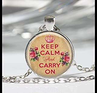 Keep Calm And Carry On Necklaces,Keep Calm And Carry On Pendant,Glass Round Silver Pendant,Art Photo Jewelry,Glass necklace,