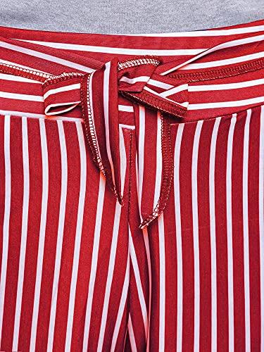 DAMEN MODE Women White Base Striped Capri Culottes (Viscose Blend, Red)