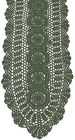 KEPSWET 100 Cotton Handmade Crochet Lace Oval Table Runner Olive Green 12x36 Inch product image