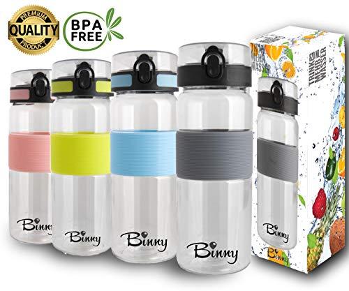Tritan Trinkflasche 820 ml | BPA frei und auslaufsicher | Sportflasche mit Fruchtsieb | Dein Begleiter für Fitness, Freizeit, Büro, Schule, Reisen | 1-Click Öffnung | grosses Volumen - GRAU
