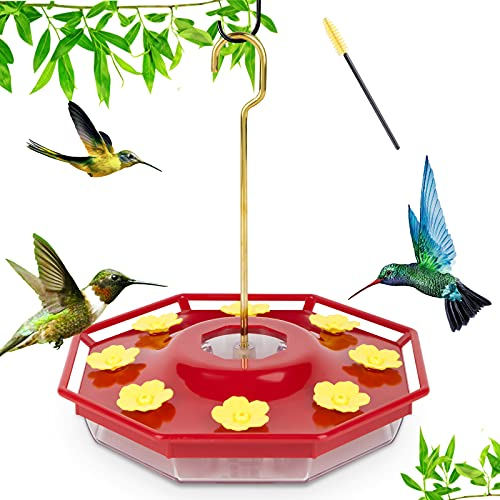 Geegoods Hummingbird Feeders for Outdoors, with 8 Feeder Posts and Cleaning Brush, Leak Proof Hummingbird Feeder for Windows Outside, Easy to Clean and Fill, Including Hanger