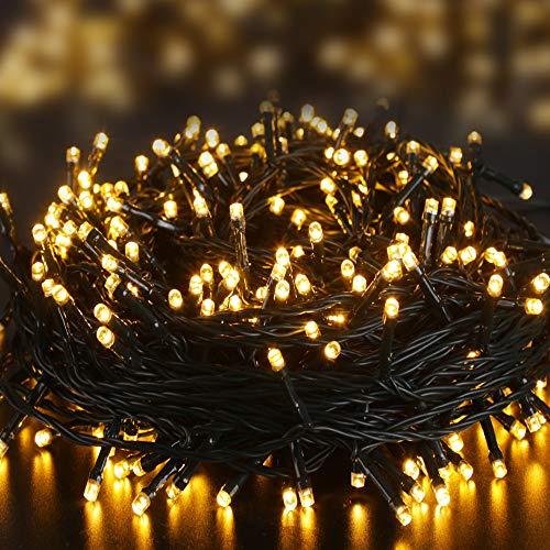 Elegear 40M 300LEDs Luci Natale Esterno IP44 Impermeabile Luci Natale Batteria con 8 Modalità Illuminazione, Decorazione per Natale, Giardino, Patio, Albero di Natale - Bianco Caldo