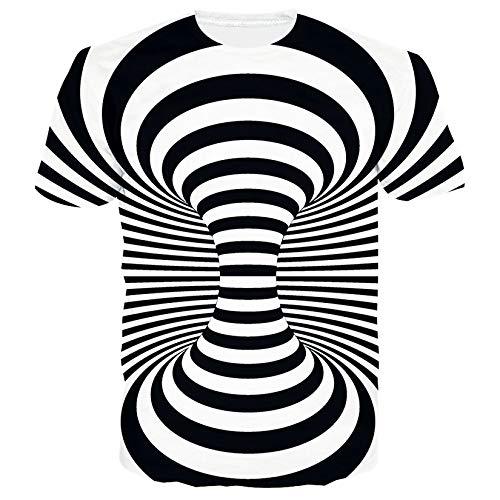 SunFocus Herren T-Shirt Rundhalsausschnitt Sommer 3D Swirl Personalisierte T-Shirts Tops Casual Weiß und Schwarz Kurzarm für den täglichen Gebrauch M