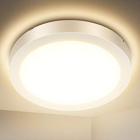 Plafonnier LED, SOLMORE Lampe Plafond 18W 1700LM Imperméable IP54 Lampe de Plafond LED Moderne Mince Rond 3000K Applicable à Salle de Bain, Chambre, Cuisine, Salon, Balcon(Blanc Chaud)23 * 23 * 3CM