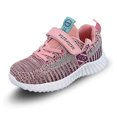 Zapatillas Deportivas Unisex para Niños Zapatillas de Tenis Correr Transpirables para Niñas Zapatillas Ligeras (29 EU, Rosa)