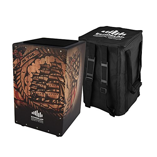Echoslap GFX Ship Cajon, Black, Hand Crafted, 21 Coiled Snare Wires, Deep Bass, Maple Frontplate, Hardwood Body + Free Gig Bag
