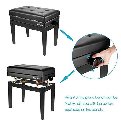 Neewer NW-007 Adjustable Deluxe Padded Piano Bench - Leather Backless Stool with Storage Compartment, Solid Hard Wood Construction with Load Capacity up to 250 pounds/110 kilograms (Black)