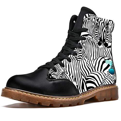 Anmarco Botas de invierno para mujer Cool Zebra Gafas Patrón Estampados Alta Parte Superior de Encaje Clásicos de Lona Zapatos de Escuela, color Multicolor, talla 39 EU