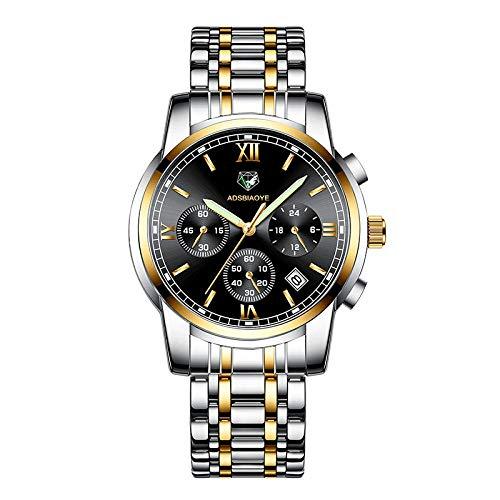 Reloj de Acero de Cuarzo analógico Impermeable de Acero Inoxidable para Hombre -D