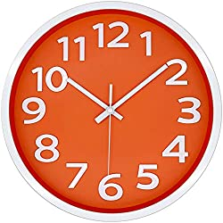 12 Inch Modern Wall Clock Silent Non-Ticking Battery Operated 3D Numbers Bright Color Dial Face Wall Clock for Home/Office Decor,Orange
