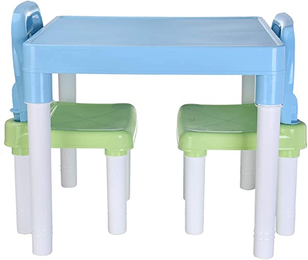 CMrtew 从美国发货塑料儿童桌子和 2 把椅子套装男孩或女孩幼儿儿童桌椅环保浅蓝色