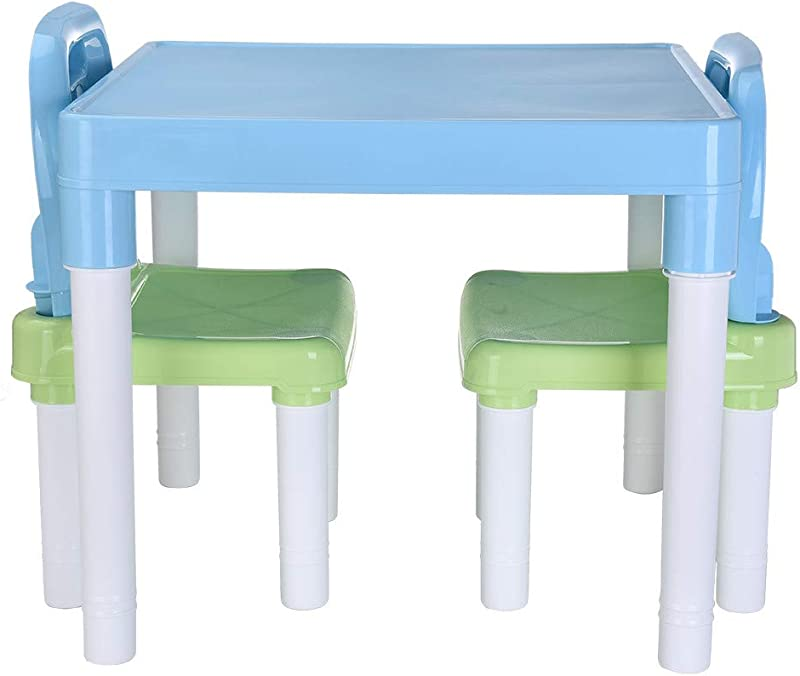 Rusiiy 2 Chairs Set Children S Study Table And Chair Set Kindergarten Children S Chair Painting Chair Children S Plastic Chair Table Plastic Kids Table Set For Boys Or Girls Toddler Light Blue