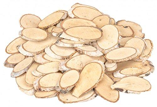 NaDeco Birkenscheiben oval 50 STK. 5-10cm Birkenscheiben ovale Holzscheiben Birkenstamm geschnitten Birkenkolz Holz Deko