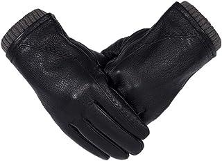 革の手袋男性の冬の厚いタッチタッチスクリーン駆動サイクリング男性の暖かい手袋