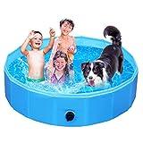 Femor Piscina Perros y Gatos Bañera Plegable, Piscina para Niños,PVC Antideslizante y Resistente al Desgaste, Adecuado para Interior Exterior al Aire Libre, Color Azul (160 x 160 x 30cm)