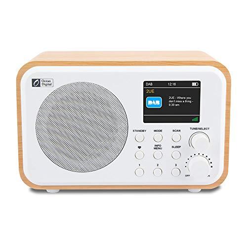 """Ocean Digital Portatile DK336 Radio Digitale DAB+ / DAB/FM con Batteria Ricaricabile, 3 Pulsanti Preimpostati, 20 Stazioni per DAB e FM, Display a Colori da 2,4"""", Timer di Sleep, Cavo USB, Legno"""