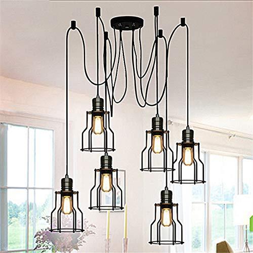Kleur modern chique industrie dining light (6 kop) vintage plafondlamp, hanglampen Edison meervoudig verstelbaar DIY plafond spin lampen lichtmetalen draad Cage hanglampen kroonluchter