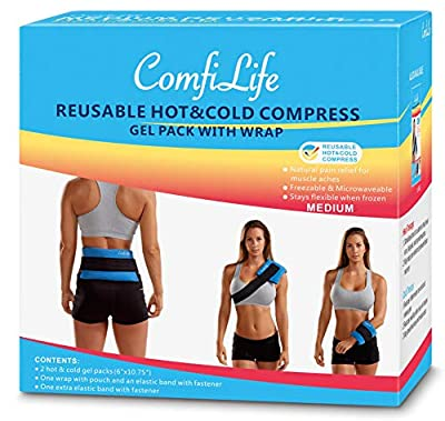 ComfiLife Ice Pack for Injuries - Perfect for Hot & Cold Therapy - Multi-Function Reusable Flexible Gel Pack for Back, Knee, Shoulder, Ankles, Wrists - Adjustable Strap