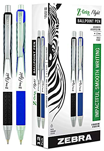 Zebra Pen Z-Grip Flight, Large Bulk Combo Pack of 6 BLACK INK & 6 BLUE INK Retractable Ballpoint Pen (Total of 12 Pens), Bold Point 1.2mm, ink pens