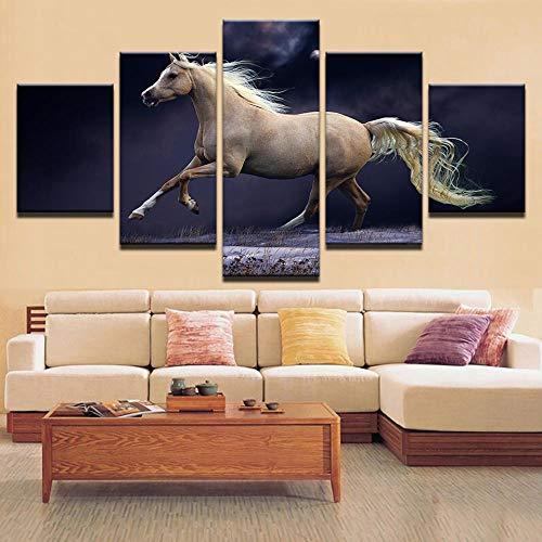 HTBYTXZ 5 Stück White Horse Whisky Bilder HD Leinwand Kunst Malerei, Wohnzimmer Wanddekoration Größe 3, Rahmenlos