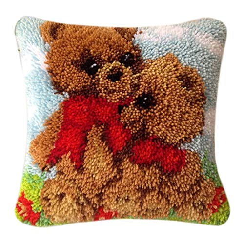 ColiCor - Kit de ganchos, alfombras, kit de gancho, cojín, cojín, bordado, para niños, perro Oso