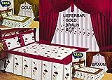 SA-FA 9 TLG Tagesdecke Bettüberwurf Set Gardinen und Vorhänge LEMA (Gold)
