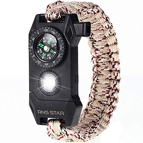 RNS STAR Paracord Survival Bracelet 6-in-1 - Hiking Gear Traveling Camping Gear Kit - 70% Bigger Compass LED SOS Emergency Function Flashlight,Fire Scrapper,Flint Fire Starter,Survival Knife (Camo_4)