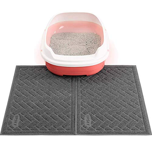 Double Large Cat Litter Mat (24'' x 16'' x 2 Pieces), Premium Traps Litter from Box and Paws, Scatter Control for Litter Box, Soft on...