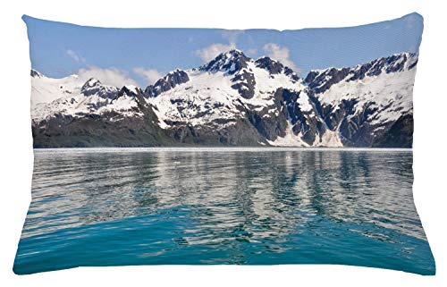 ABAKUHAUS Alaska Funda para Almohada, Aialik Bay Fiordos De Kenai, Decorativo, Estampado en Ambos La