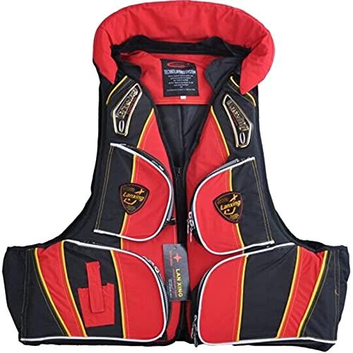 DSWF Chaleco Salvavidas Adultos Chalecos flotantes Chaquetas de flotación Asistencia de baño Asistencia de Asistencia de Traje de baño Flotador Kayak Canoa Red Black-XL