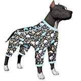 LovinPet Large Dog Pajamas, Hippos Zoo Animal Cozy Dog Pajamas, Slim fit, Lightweight Pullover Pajamas/Full Coverage Dog pjs/Please Reese Size Chart Before Ordering