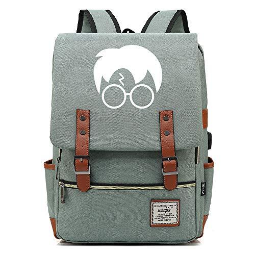 NYLY Mochila portátil de 15 Pulgadas con Puerto de Carga USB, Mochila de Senderismo de Ocio Adolescente, Bolsa de la Escuela de Harry Potter Unisex Verde Claro