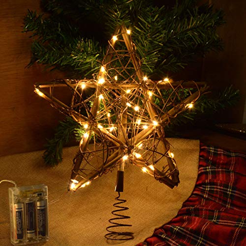 kingleder Star Tree Toppers Christmas Decorations, Lighted Rustic Rattan Star with Battery Operated Copper Wire Lights for Christmas Tree Decorations(Warm White)