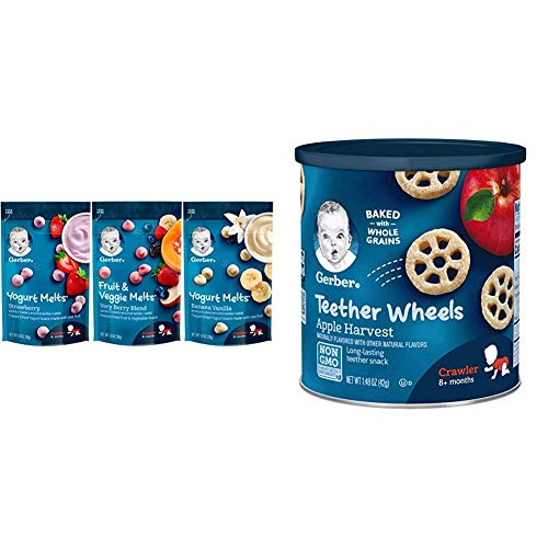 Gerber Up Age Yogurt Melts & Fruit & Veggie Melts Assorted Variety Pack, 8Count & Teether Wheels, Apple Harvest, 1.48 Ounce (Pack of 6)