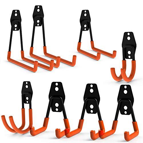 CoolYeah Garage Stahl Wandhaken Doppel Schwerlast Universalhaken zur Organisation von Elektrowerkzeugen und sperrigen Gegenständen (8er Pack)