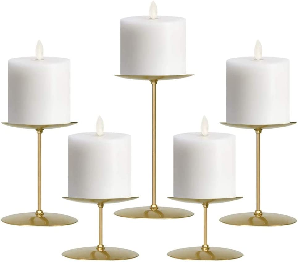 NiceAI Candle Holders Set for Table Centerpiece Wedding Fireplace Candelabra Modern Pillar Candle Holder Candlestick Iron Pack of 4 Black