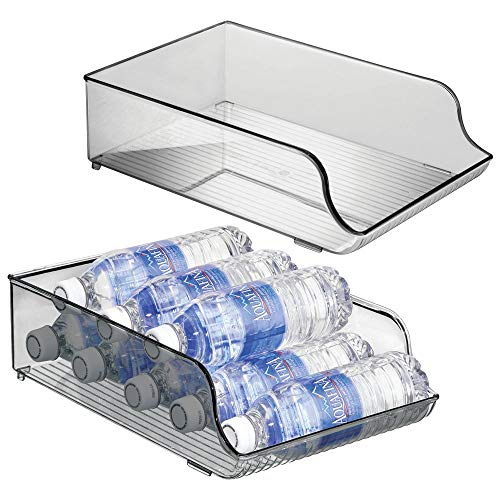 mDesign Wide Plastic Kitchen Water Bottle Storage Organizer Tray Rack - Holder and Dispenser for Refrigerators, Freezers, Cabinets, Pantry, Garage - 2 Pack - Smoke Gray