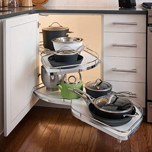 Lemans II Set 2-Shelf Lazy Susan with Soft-Close for Blind Base Corner Cabinets, Chrome and Gray (574 sq. Model 40, Tray Size: 12 , Swings Right)